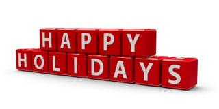 Rode kubussen gelukkige vakantie Stock Afbeeldingen