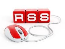 Rode kubussen met RSS-brieven die met computermuis worden verbonden vector illustratie