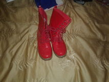 Rode laarzen stock fotografie