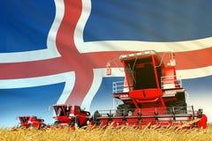 Rode landelijke landbouw maaidorser op gebied met de vlagachtergrond van IJsland, het concept van de voedselindustrie - industri? royalty-vrije illustratie