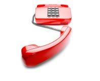 Rode landline telefoon op geïsoleerde achtergrond met een schaduw Royalty-vrije Stock Afbeeldingen