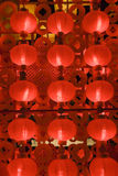 Rode lantaarns bij nacht voor Chinees nieuw jaar Stock Fotografie