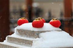 Rode lantaarns in de sneeuw royalty-vrije stock afbeelding