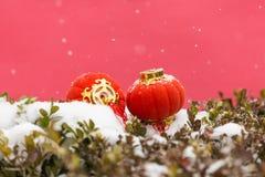 Rode lantaarns in de sneeuw royalty-vrije stock afbeeldingen