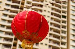 Rode lantaarns die Decoratie hangen Royalty-vrije Stock Fotografie