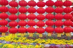Rode lantaarns in park stock fotografie