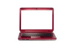 Rode laptop die op wit wordt geïsoleerd royalty-vrije stock fotografie