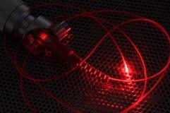 Rode laserstraal van vezelkabel Stock Fotografie