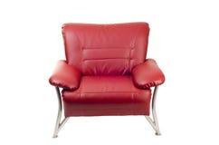 Rode leerstoel die op wit wordt geïsoleerdg Royalty-vrije Stock Foto