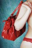 Rode leerzak Stock Foto