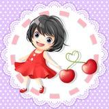 Rode leuk meisje en kers Stock Fotografie