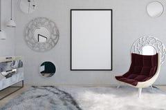 Rode leunstoel en affiche in een spiegelwoonkamer stock illustratie