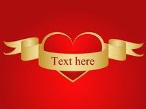 Rode liefdeachtergrond met tekst op lint vector illustratie