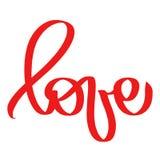 Rode Liefdevector door borstel Met de hand geschreven prentbriefkaar aan de dag van Valentine, tatoegering, drukken, huwelijk, st stock illustratie