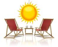 Rode ligstoelen Stock Foto