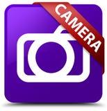 Rode lint van de camera het purpere vierkante knoop in hoek Royalty-vrije Stock Afbeelding