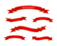 Rode lintbanners met gouden strepen Royalty-vrije Stock Afbeelding