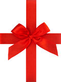 Rode lintboog die op witte achtergrond wordt geïsoleerda het concept van de giftkaart Royalty-vrije Stock Fotografie