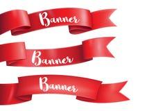 Rode linten horizontale banners geplaatst op de witte achtergrond vlak Stock Foto's
