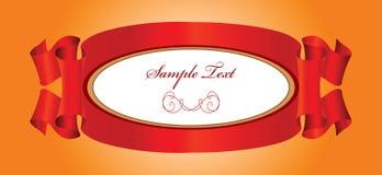 Rode linten met etiket royalty-vrije illustratie