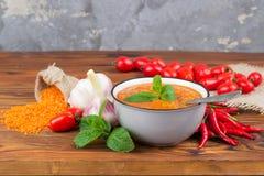 Rode linzesoep met ingrediënten royalty-vrije stock afbeeldingen