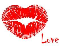 Rode lippen in hartvorm royalty-vrije illustratie