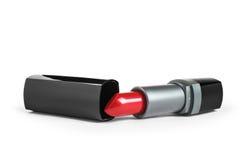 Rode lippenstift in een zwarte buis Stock Afbeeldingen