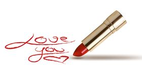 Rode lippenstift met tekst De achtergrond van de valentijnskaartendag Vector royalty-vrije illustratie