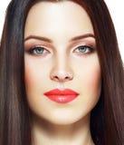 Rode lippenvrouw Royalty-vrije Stock Afbeeldingen