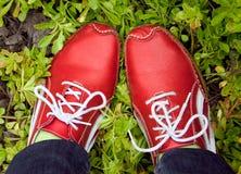 Rode loopschoenen op een gras Stock Afbeelding