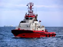 Rode Lopende Sleepboot royalty-vrije stock foto
