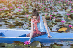 Rode Lotus Sea stock fotografie