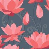 Rode lotusbloem naadloze achtergrond stock foto's