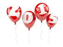 Rode luchtballons met 2015 Nieuwjaarteken Royalty-vrije Stock Foto's