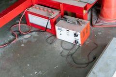 Rode machtsaccu's, Batterijschakelaar, Zonnebatterij voor royalty-vrije stock fotografie