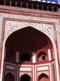 Rode mahal deur van Taj stock afbeelding