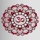 Rode mandala, henna, Boeddhisme Stock Foto's
