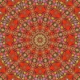 Rode mandala voor de illustratie van het yogahart stock illustratie