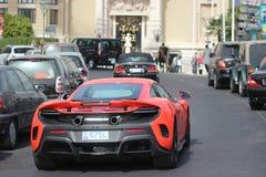 Rode McLaren 675LT in Monte Carlo, Monaco Royalty-vrije Stock Afbeeldingen