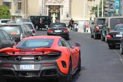 Rode McLaren 675LT in Monte Carlo, Monaco Stock Afbeeldingen