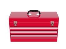 Rode metaaltoolbox Stock Afbeeldingen