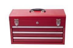 Rode metaaltoolbox stock afbeelding