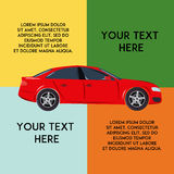 Rode moderne auto en exemplaarruimte voor tekst Voertuiginfographics Minimale vlakke vectorillustratie Stock Foto