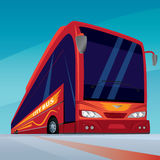 Rode moderne passagiersbus op de weg royalty-vrije illustratie