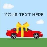 Rode modieuze auto met gele boog Concept heden Minimale vlakke vectorillustratie Stock Afbeelding