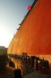 Rode muur Stock Foto