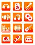 Rode muziek en correcte pictogrammen Royalty-vrije Stock Afbeelding