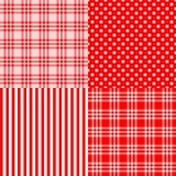 Rode naadloze gestreepte patronen, bevlekte plaid, Royalty-vrije Stock Foto's