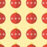 Rode naadloze het patroonachtergrond van Kerstmisballen Stock Foto's