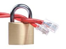 Rode netwerkkabel op slot Stock Fotografie